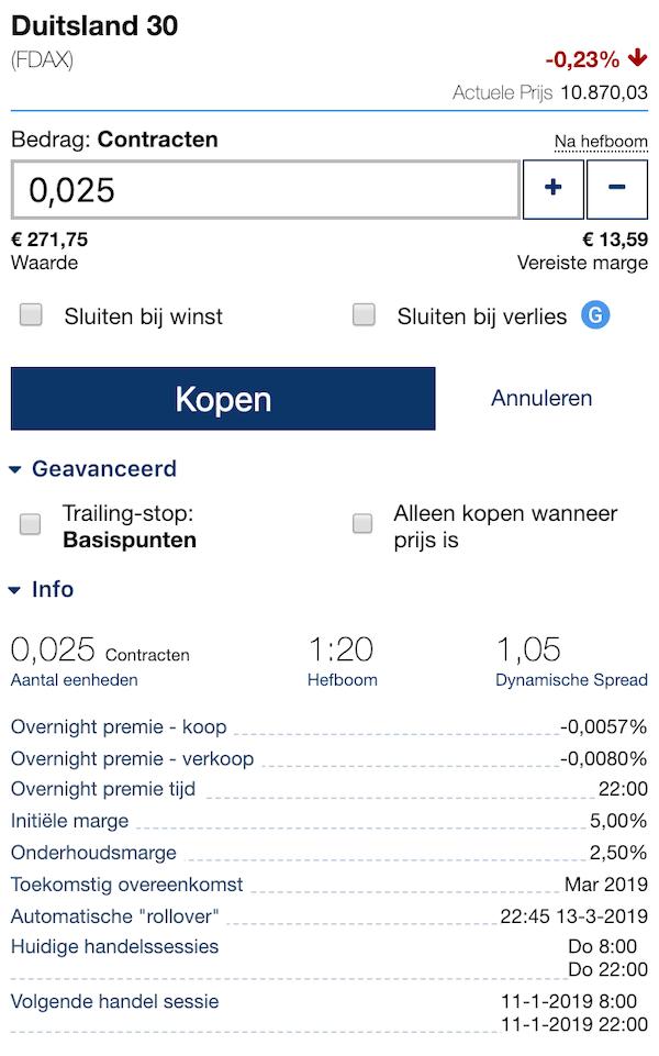 Open trade bij P500