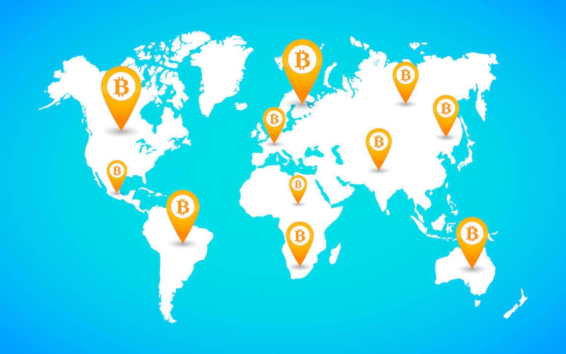 Bitcoin wereldkaart