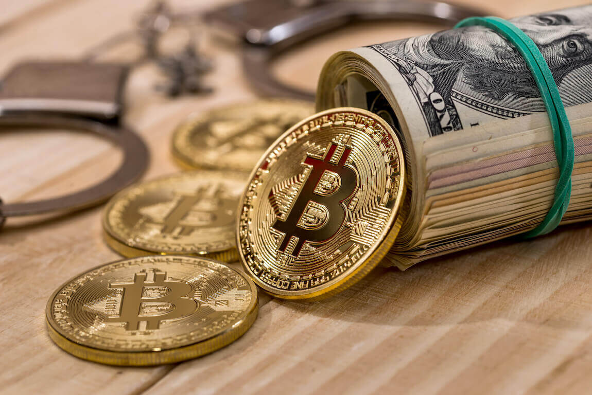Bitcoin munt en dollar biljetten