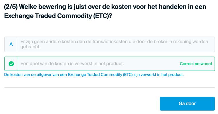 Wat voor kosten zitten in een ETC?